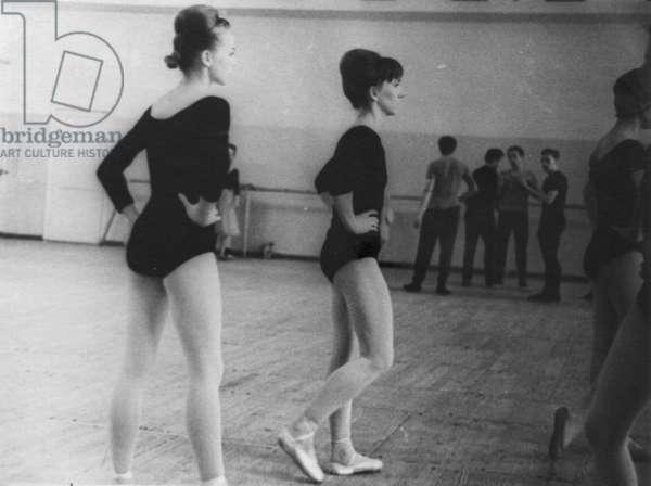 Rehearsal at the Bolshoi Theatre, Moscow, 1970s (b/w photo)