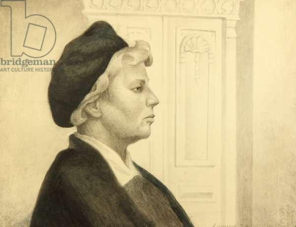 Portrait of Woman, 1973 (pencil on paper)