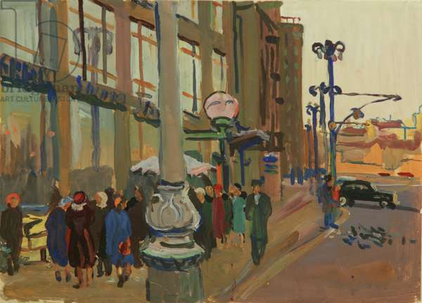 In Front of the Department Store GUM, Moscow, 1954 (tempera on paper)