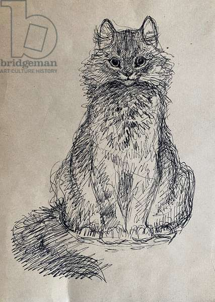 Cat, 1968 (indian ink on paper)
