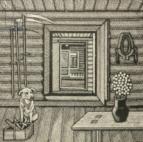 Interior with Scythes, 2002 (linocut)