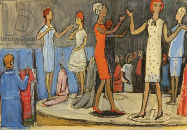 Fashion Show, Moscow, 1966 (tempera on paper)