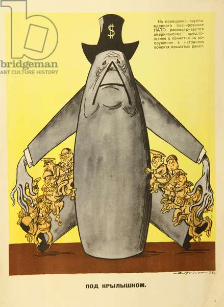 Under the Protective Wings of NATO, 1978 (colour litho)