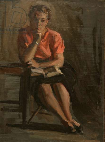 Portrait of a Woman Reading, 1950s (oil on canvas)