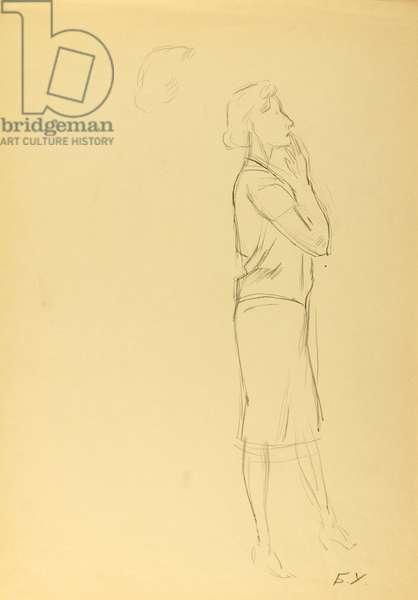 Prima Ballerina Assoluta Galina Ulanova, 1972 (pencil on paper)