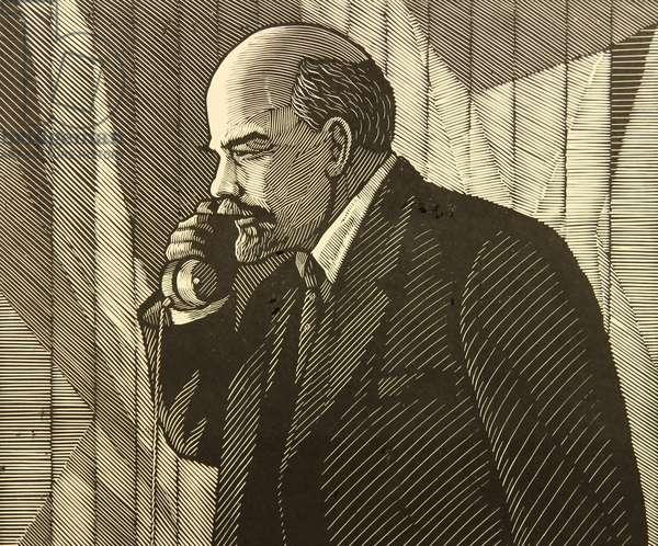 Vladimir Ilich Lenin On the Hot Line, 1971 (linocut)