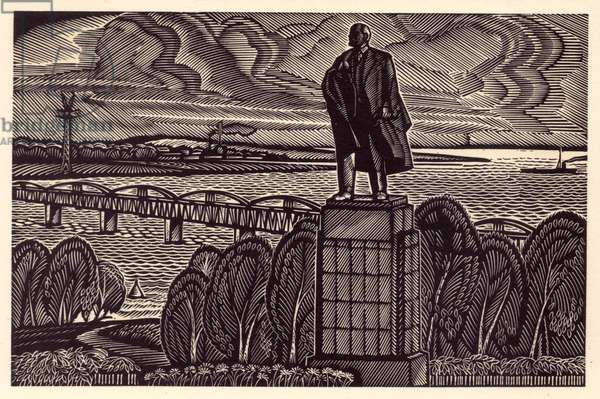 Monument to Lenin, 1969 (linocut)