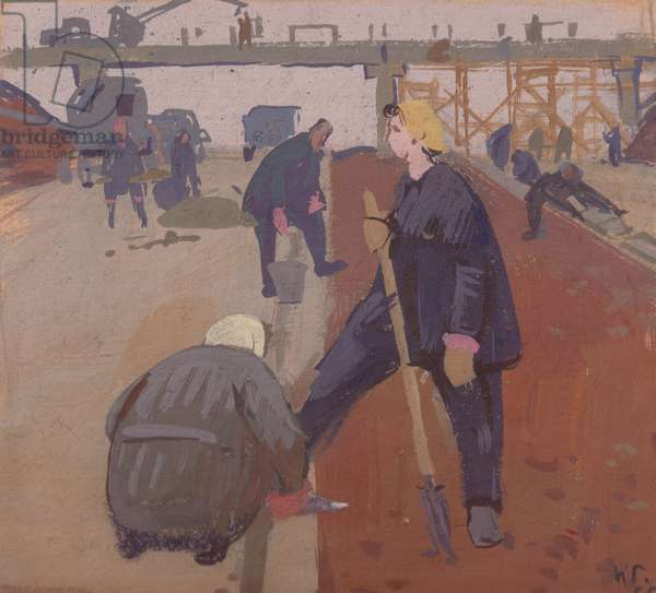 Women Laying the Asphalt, 1952 (tempera on card)