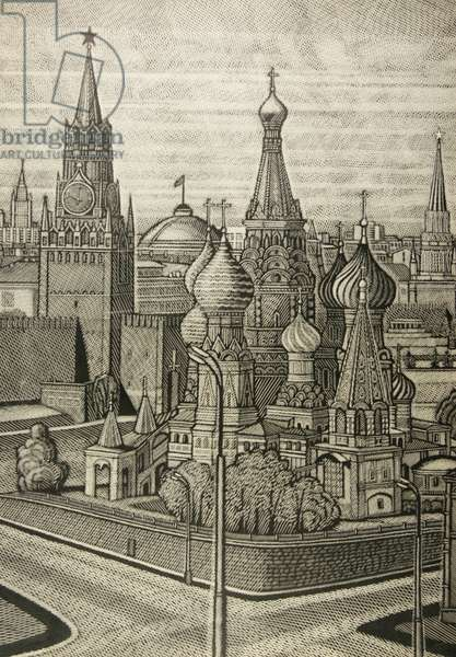 The Kremlin, Moscow, 1980 (linocut)