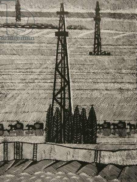 Sakhalin II Oilfields, 2004 (linocut)