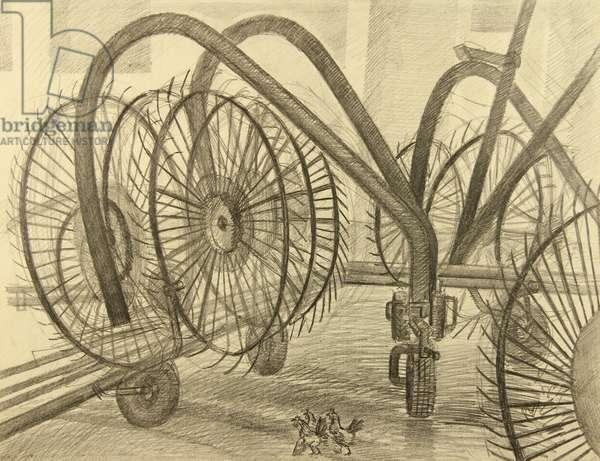 Equipment Yard, 1982 (pencil on paper)