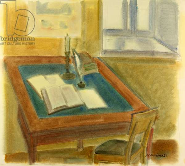 The Desk from the House of Fyodor Dostoyevsky's parents in Moscow, 1985 (w/c on paper)