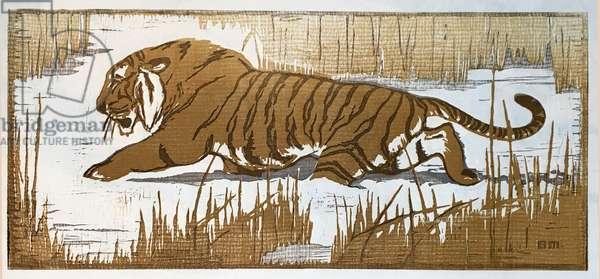 Tiger, 1956 (linocut)