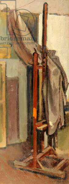 Still Life with Easel and Curtain, 1964 (oil on board)