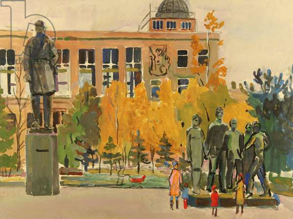 Alexander Fadeev Monument, 1978 (tempera on paper)