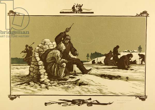 Winter Fishing, 1964 (linocut)