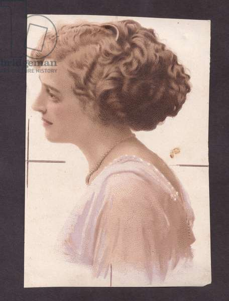 Woman in profile, 1900s (colour litho)