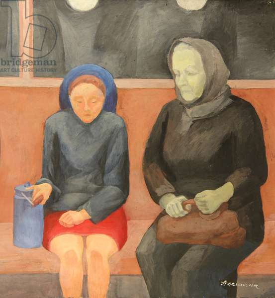 Girl and Old woman in the Metro, 1970s (tempera on paper)