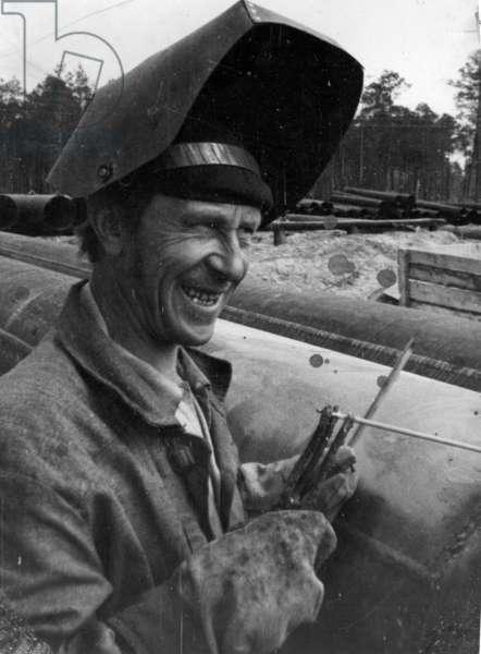 Welder, 1977 (b/w photo)