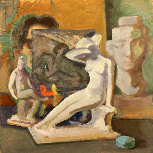 Still Life with Matveev Figurines, 1966 (oil on card)