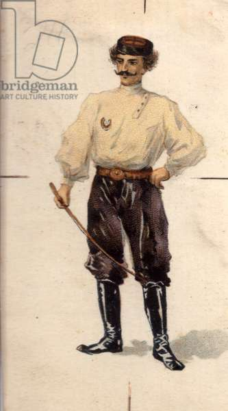 Man with riding crop, 1900s (colour litho)