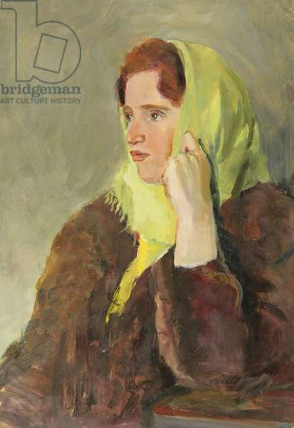 Girl in Green Scarf, 1950s (oil on card)