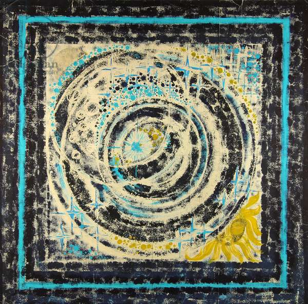 Cosmos. Design sketch for a scarf , 1974 (gouache on paper)