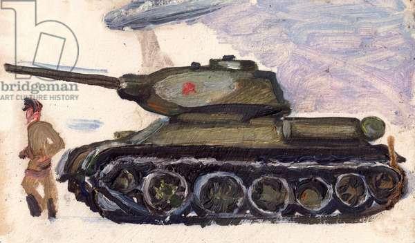 Soviet Tank, 1971 (oil on paper)