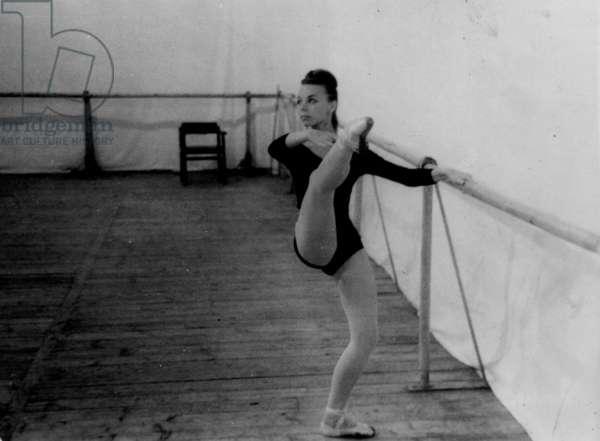 Adagio - ballet class at the Bolshoi Theatre, Moscow, 1970s (b/w photo)
