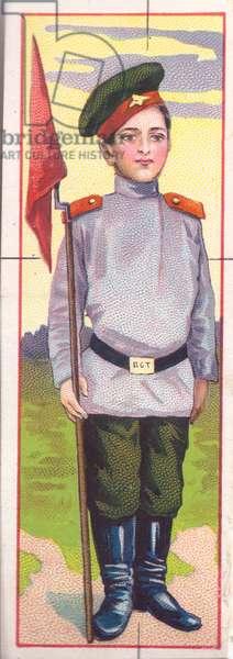 Boy in guard's uniform, 1900s (colour litho)