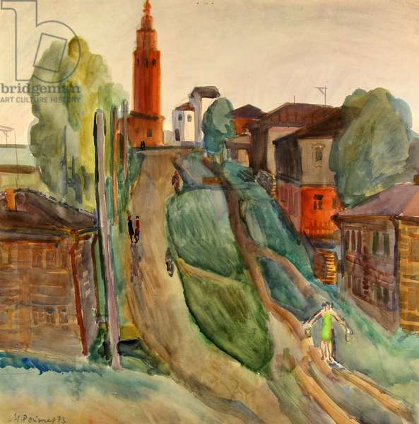 Evening in Cherdyn, the Urals, 1973 (w/c on paper)