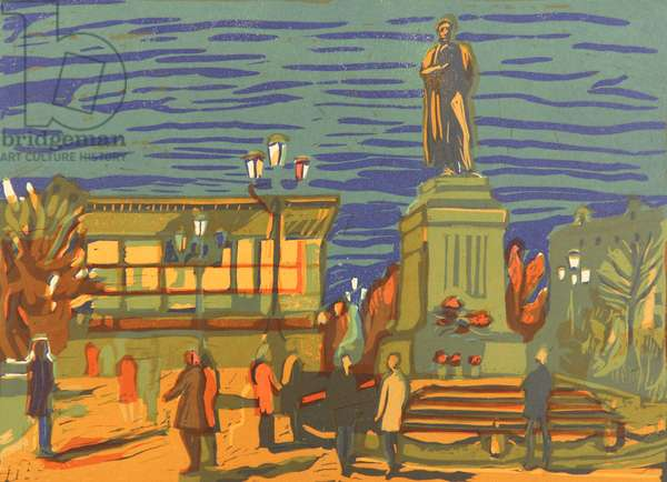 Alexander Pushkin Square, Moscow, 1970s (colour litho)
