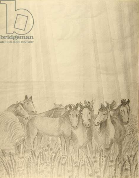 Horses in the Sunrays, c.1970s (pencil on paper)