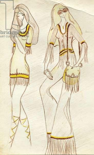 Fashion Design Sketch, c.1970 (coloured pencils on paper)
