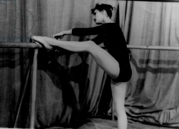 Stretching at the barre, Bolshoi Theatre, Moscow, 1970s (b/w photo)