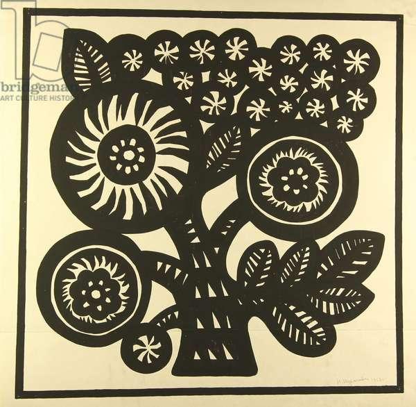 Textile Design - Sketch for Scarf, 1968 (tempera on paper)