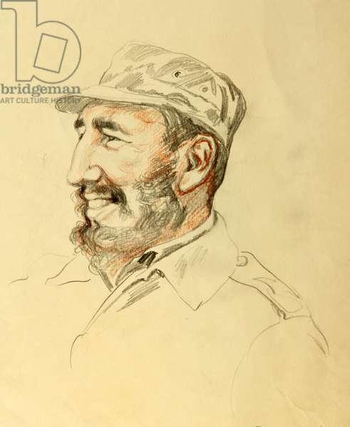 Fidel Castro, 1962 (pencil on paper)