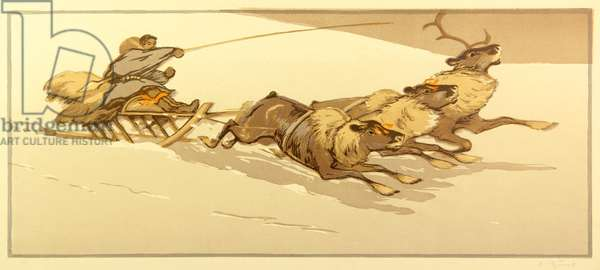 Riding the sledge with Reindeers, 1955 (colour litho)