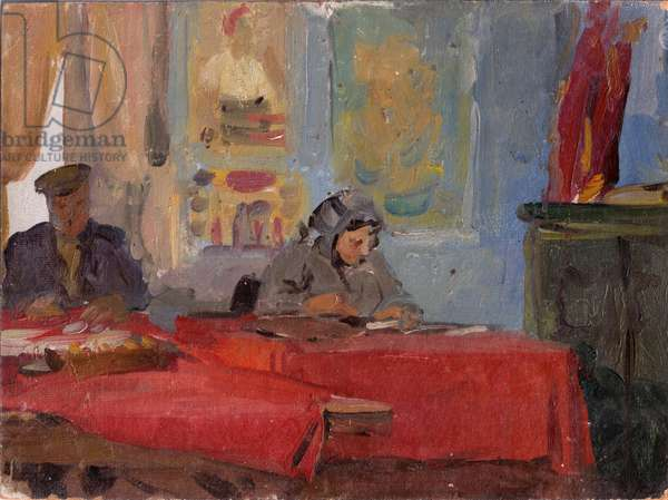 At the Director's Office of the Collective Farm, or Kolkhoz, 1954 (oil on card)