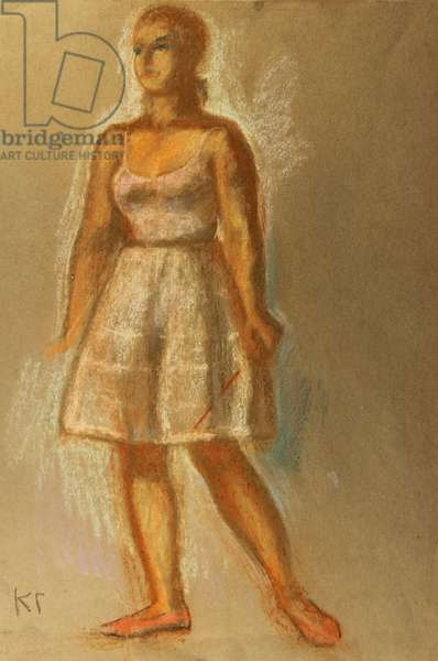 Young Woman in White Dress, 1977 (pastel on paper)