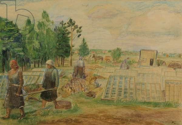 Greenhouse, 1938 (colour pencil on paper)