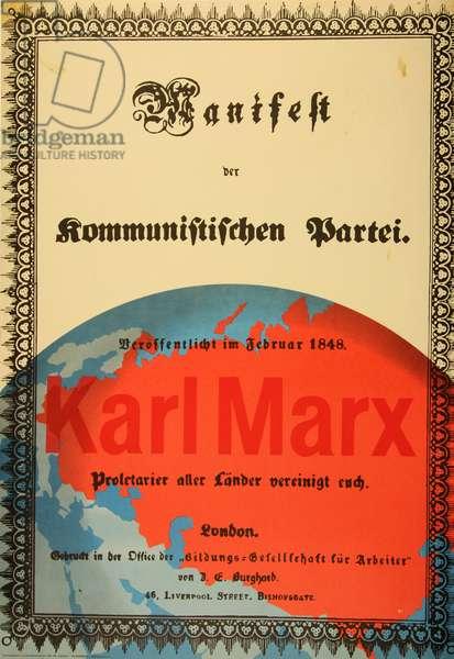 The Manifesto of the Communist Party, Karl Marx (Manifest der kommunistischen Partei. Karl Marx), 1960s (colour litho)