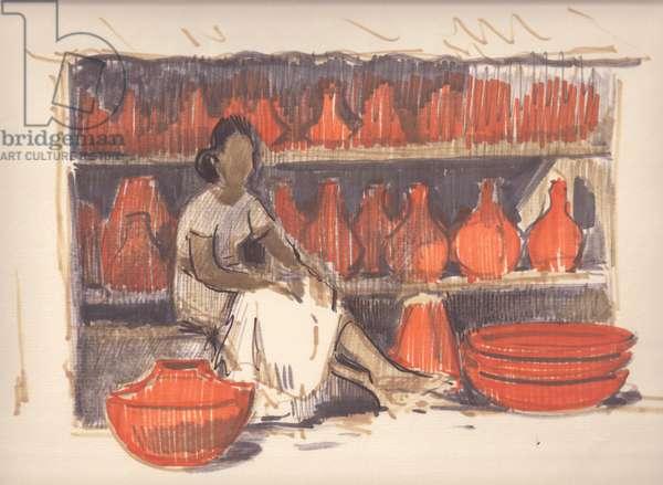 Pottery Vendor in Sri Lanka, 1960 (felt-tip pen on paper)