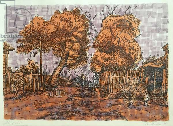 Two Trees, 1981 (colour litho, w/c on paper)