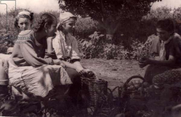Kolkhoz Workers in Moldovan Soviet Socialist Republic, 1952 (b/w photo)