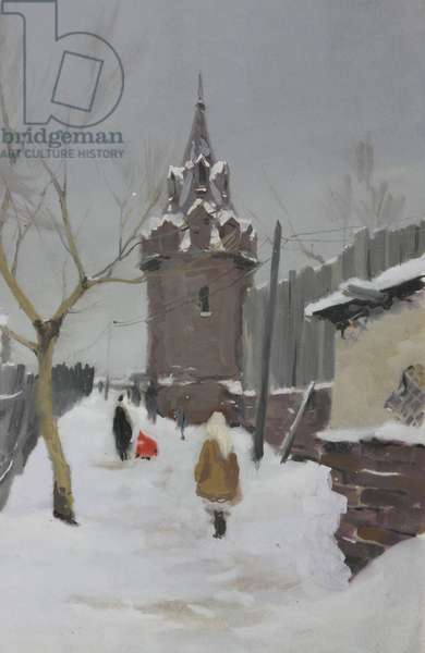 Moscow in Winter, c.1960s (gouache on paper)