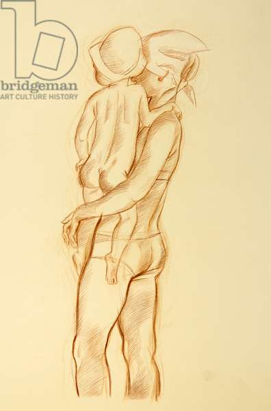 Mother and Child, 1974 (colour pencil on paper)
