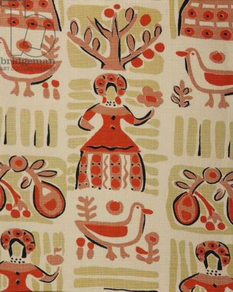 Textile design, c.1960 (tempera on paper)
