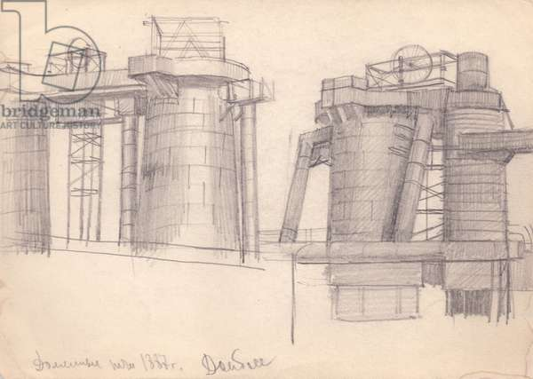 Sketch from the Donbass Coal Mines in the Ukraine, 1937 (pencil on paper)
