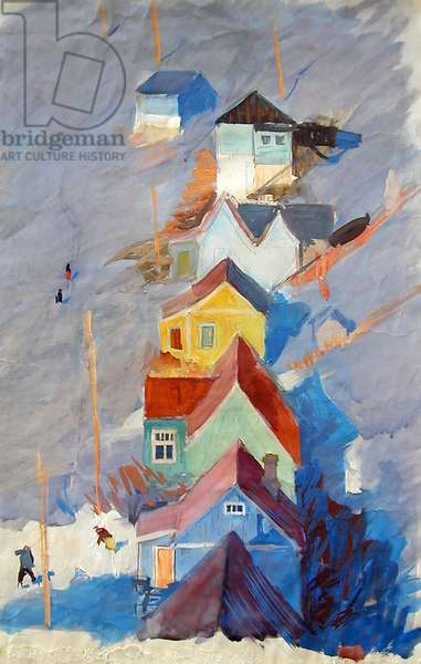 Wooden Houses, Kamchatka, 1961 (tempera on paper)
